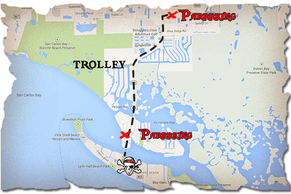 Map of part of Fort Myers Beach. Two parking lots for the beach trolley are indicated.