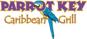 Logo for Parrot Key Caribbean Grill restaurant on Fort Myers Beach.