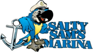 Logo for Salty Sam's Marina on Fort Myers Beach.