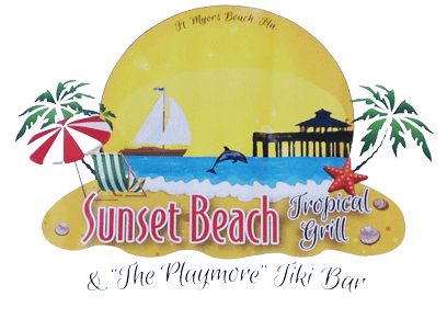 Logo for Sunset Beach Tropical Grill, a beachfront restaurant in Times Square on Fort Myers Beach.