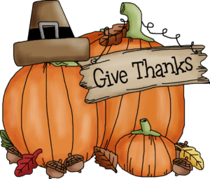 Graphic of three pumpkins and the words 'give thanks'.