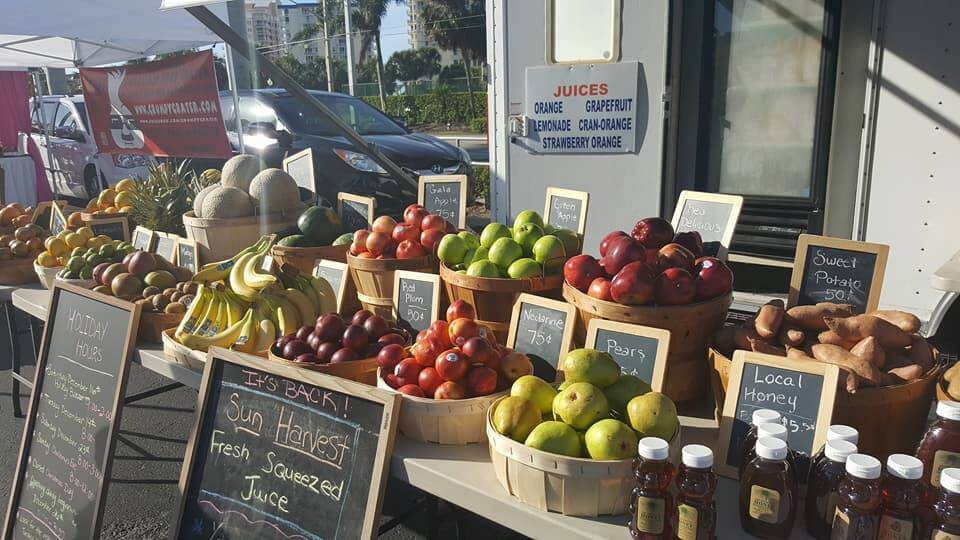 Produce on display at the Fort Myers Beach Farmer's Market at Santini Plaza