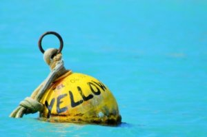 Yellow mooring ball.