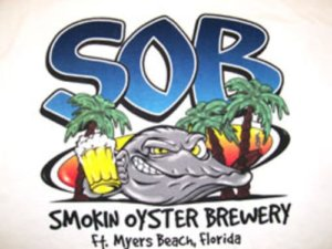 Logo for Smokin Oyster Brewery, a restaurant on Fort Myers Beach.