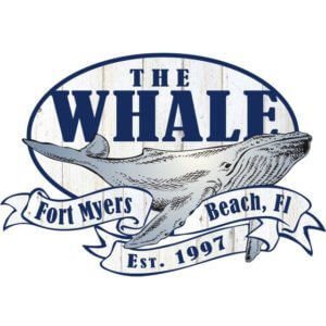 Logo for The Whale restaurant on Fort Myers Beach. It has a whale in the image.