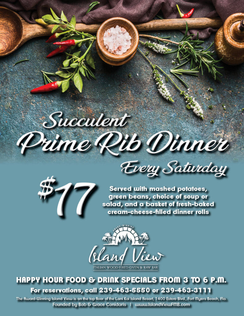 Flyer for the prime rib dinner special at the Island View restaurant.