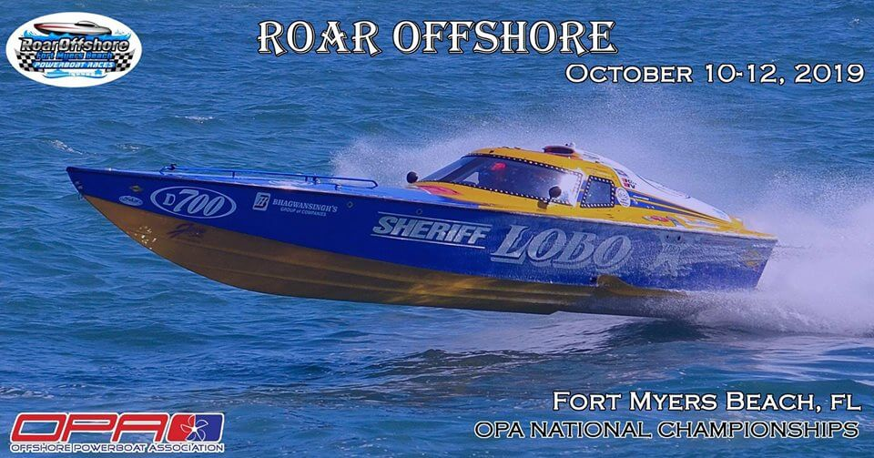 Ad for the Roar Offshore Oct 10-12, 2019 on Fort Myers Beach.