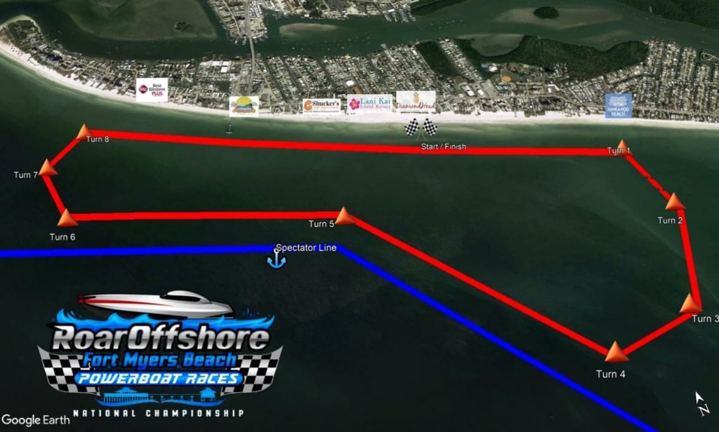 Map of the race course for the Roar Offshore.
