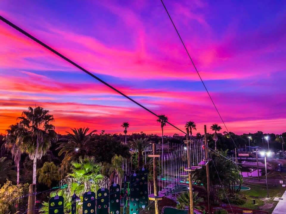 The sun sets over Gator Mike's Family Fun Park in Cape Coral Florida.