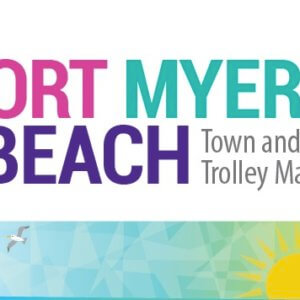 Logo for the Fort Myers Beach Town and Trolley Map.
