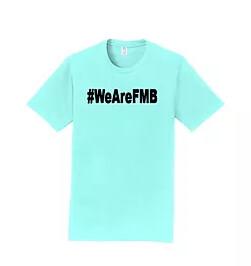 A light blue #wearefmb t-shirt.
