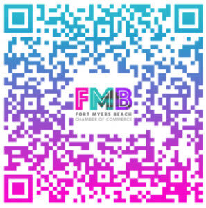 QR code for the Fort Myers Beach Chamber Online Visitors Guide.