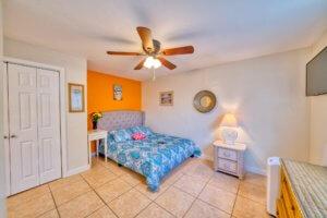 A cheery bedroom at a vacation rental..
