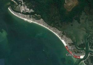 A map of Estero Island Designating the Critical Wildlife Area.