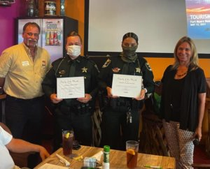 Deputies Jeffrey Goff and Jerika Rivera with our Deputy of the Month Award.