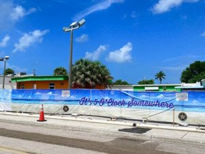 The site for Margaritaville on Fort Myers Beach has been blocked off in preparation for construction.