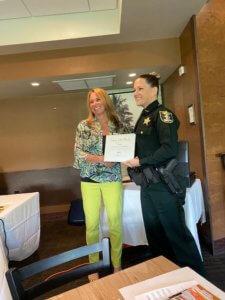 Deputy Nathalie Burlingame receives her June 2021 Deputy of the Month award.